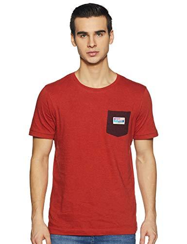 Scotch & Soda Herren Classic Tee in neps Jersey Quality T-Shirt, Orange (Burning Orange 0212), Large (Herstellergröße: L)