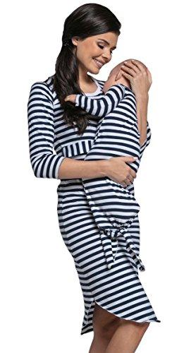 Happy Mama. Damen Umstands-Nachthemd set für Mama-und-Baby-Look. 089p (Marine, EU 38, M) (3 Stück Arm Rechten)