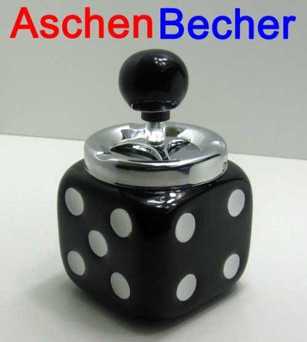 Sturmaschenbecher Würfel Design Keramik, Sturm Wind Dreh Aschen Becher, schwarz (LHS) (Keramik-pfanne-halter)