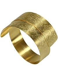 SILBERMOOS Damen Armreif Silberarmreif gold-plattiert vergoldet Armspange gewickelt flexibel gebürstet Spirale 925 Sterling Silber