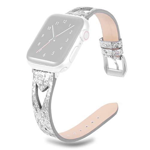 Strap für Apple-Uhr 40mm Webla Armband-Uhr-Leder Bling Funkeln verstellbares Band Uhr-Ersatzband Uhrenarmband mit Metallschnalle für Apple iWatch 40mm - Uhr Bling Techno