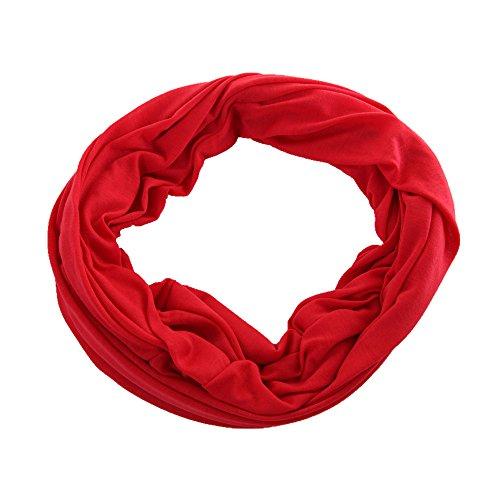 Miobo Damen/Herren Loopschal Snood Schlauchschal Rundschal in vielen schönen Uni-Farben Leucht Rot