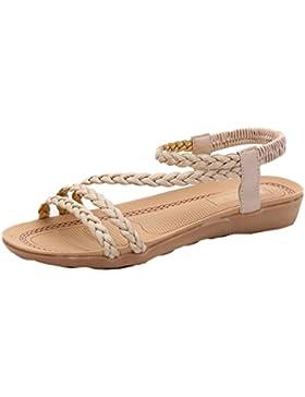 Amlaiworld Damen Sommer Weben Sandalen Startseite Sandalen Strand Flache Schuhe