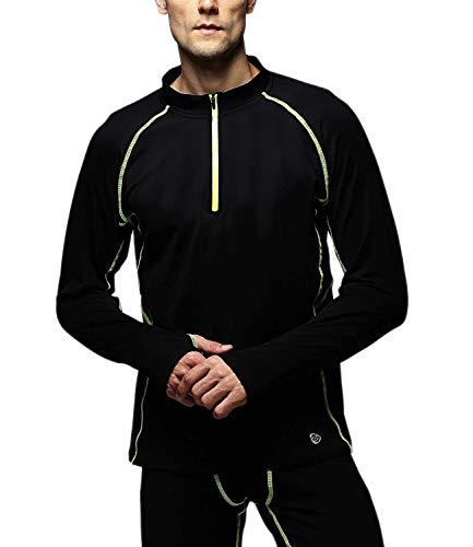 Outto Herren Thermounterwäsche Fleece gefüttert Midweight Baselayer Shirt 1/4 Zip Neck Top, Herren, Leuchtend grün, X-Large - 1/4 Zip Outdoor Fleece