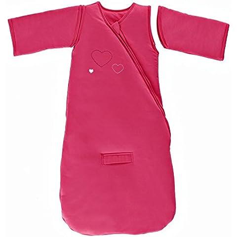 P'tit Basile - Sacco nanna per bebé invernale con maniche rimovibili, funzione 3 in 1 (6 Ricamo)