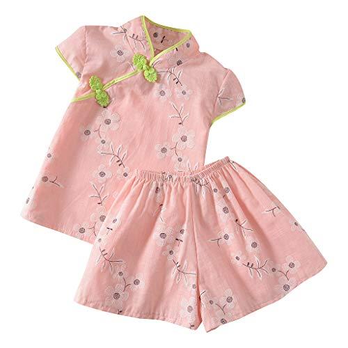 wuayi  Baby Mädchen chinesischen Stil Cheongsam Floral Bedruckte Kurzarm T-Shirt Tops + Shorts Kurze Hose Outfits Kleidung 18 Monate - 5 Jahre