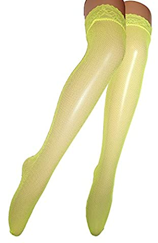 Ladies Sexy Fishnet Over Knee Socks Suspender Stockings with Stretchy Lace Top Size 6-12 (yellow small