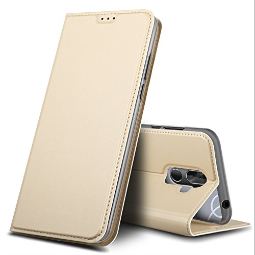 BQ Aquaris VS Plus Hülle, GeeMai Premium Flip Case Tasche Cover Hüllen mit Magnetverschluss [Standfunktion] Schutzhülle Handyhülle für BQ Aquaris VS Plus Smartphone, Gold