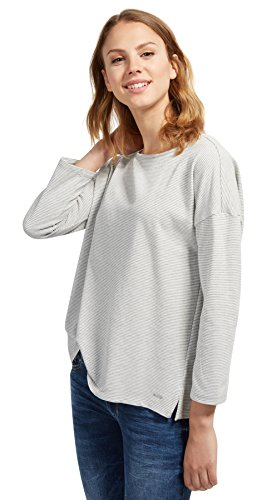 TOM TAILOR Denim für Frauen T-Shirt Gestreiftes Shirt mit Schleife Ecru M