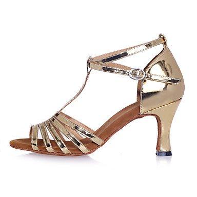 Zapatillas De Baile - No Personalizables - Mujeres - Baile Latinoamericano - Tacón De Aguja - Piel Sintética - Plata / Oro Plata