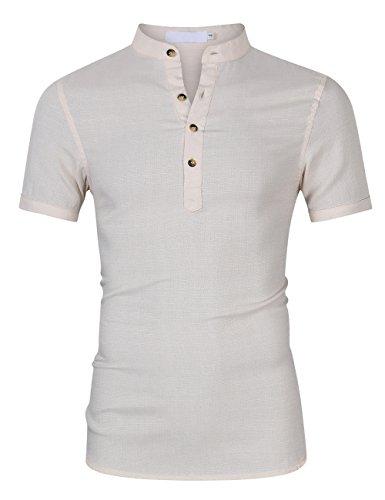 Männliches beiläufiges Kurzhülse Leinenhemd stilvolles T Shirt übersteigt -