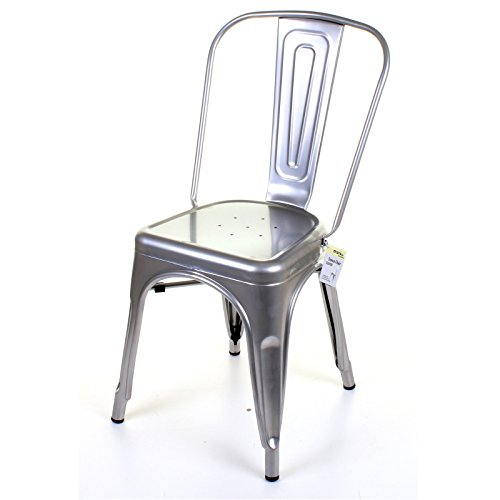 Marko Furniture Siena Metal Dining Chair Stackable Industrial Vintage Style Seat Bistro Cafe Kitchen (2 Chairs, Silver)