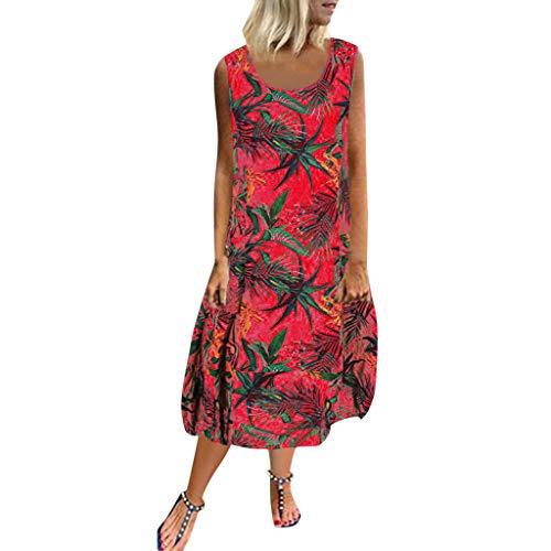 Markthym Beiläufiges Loses O Ansatz-Sleeveless Spitze-Patchwork-Taschen-Druck-Strand-Kleid der Frauen Ärmelloses Kleid für Damen - Cinched Taille Top