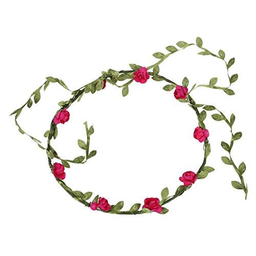 TOOGOO(R)Guirlande Florale Fille Femme Fete Mariage Boho Bande de Cheveux Rose Rouge