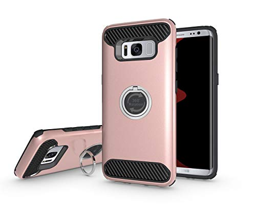 S8 Hülle, Galaxy S8 Hülle, 360 ° drehbarer Ring Kickstand Hybrid Dual Layer Protective Shock Absorption Hard Shell Soft TPU Bumper Cover für Samsung Galaxy S8 + Stylus, Rose Gold 3 Layer Soft Shell