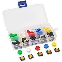 MakerHawk Interruptor táctil 25pcs Interruptor de botón táctil 4 Pines SMD PCB Micro Momentáneo Tact Kit de surtido 12x12x7.3mm con 5 colores Ronda Tapa y caja para Arduino