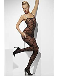 Fever Women's Sheer Body Stocking Criss-Cross Pattern Crotchless