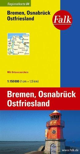 Falk Regionalkarte Bremen - Osnabrück - Ostfriesland 1:150 000