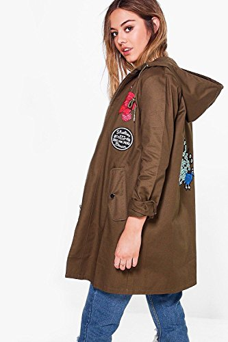 Khaki Damen Petite Sally Oversized Badge Parka Khaki