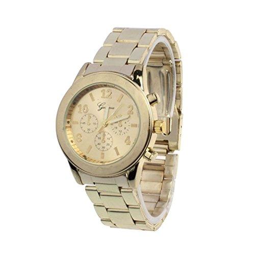 Amsion Señoras muchacha de las mujeres unisex de acero inoxidable cuarzo reloj de pulsera (oro)