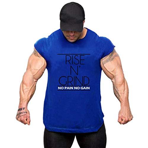 Fitness Weste für Herren aus Baumwolle, Sommer Sport Tank Weste Brief Gedruckt Bluse Für Freizeit Laufen Top Zolimx (Under Armour Punisher)