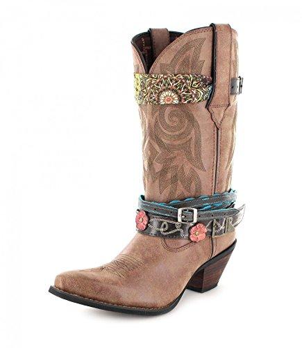 Durango Boots Damen Cowboy Stiefel DCRD145 ACCESSORIZE Lederstiefel Westernstiefel Braun 36 EU -