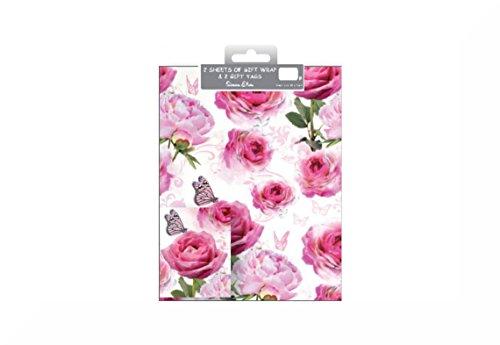 2Confezioni Regalo e bigliettini, qualità totale di 4fogli di carta regalo Tag e 4+ uno Inspirational Magnete, Roses