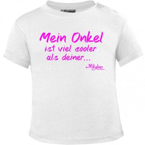 Mikalino Baby T-Shirt Mein Onkel ist viel cooler als deiner pinkprint, Farbe:weiss;Grösse:80/86