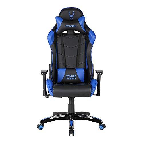 Woxter Stinger Station Silla gaming (eje acero,sistema de levantamiento - gas pistón clase 4, ergonómica,reposabrazos 2D,altura/inclinación ajustable,ruedas antiarañazos,cojín lumbar/cervical), blue