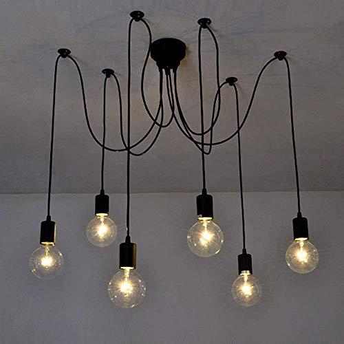 TZZ E27 Industrial DIY Spinne Kronleuchter Chic Industrial Esszimmer Licht Ajustable Loft Pendelleuchte Mehrere Niederlassungen Deckenleuchte, 6 Lichtköpfe -