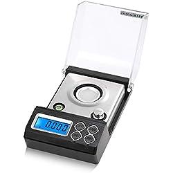 KKmoon - Báscula digital profesional de alta precisión, balanza de milligramo de 20 g / 0,001 g, balanza de oro para joyas con calibración de peso y sartén para pesas