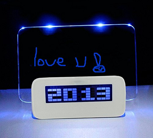 Multifunction Fluorescent Message Notice Board LED Digital Alarm Clock Snooze Calendar Timer Temperature +Highlighter Led Message Clock