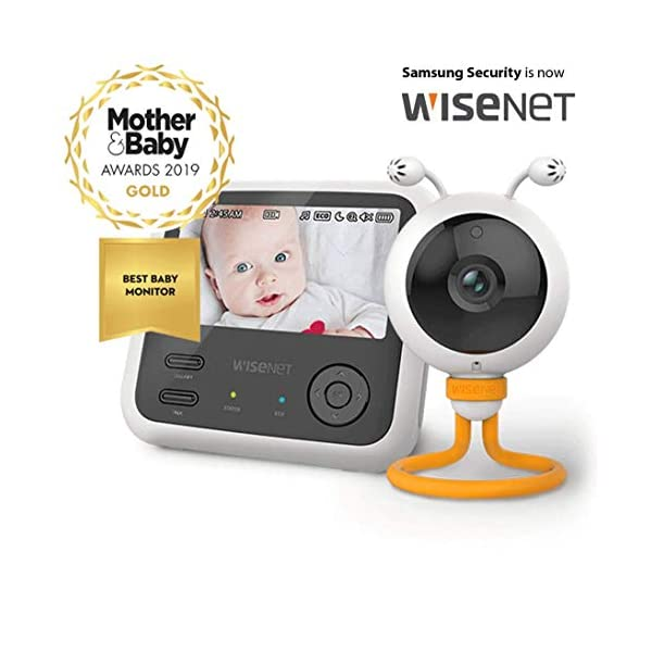"Wisenet SEW3048 Video Baby Monitor 4.3"" with Eco Flex Fit Digital Camera. Mother&Baby Best Baby Monitor Gold Award 2019. LCD Wide Screen, Fast Video and Sound Response Wisenet Two-way communication enabled so you can talk to, soothe and relax your little one from anywhere in your home Crystal clear night vision allows you to keep an eye on your little one without any worry in crystal clear quality 7 bedtime music and white noises that will help to soothe your little one and keep them relaxed throughout the night 1"