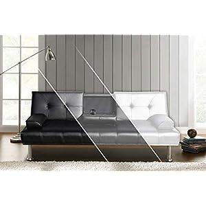 DRULINE Sofa Dubai Schlafsofa Klappsofa Kunstleder Couch Schlafcouch Klappcouch Garnitur (Schwarz)
