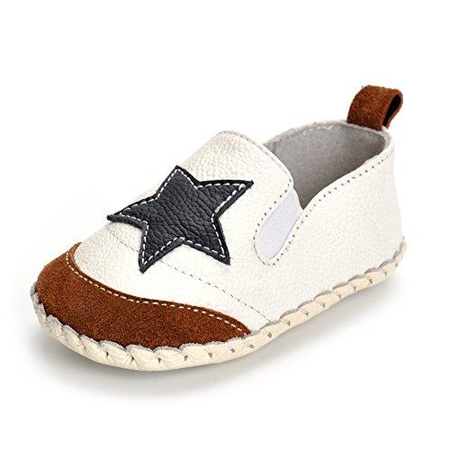 Estamico Baby Jungen Rutschfest Weiche Lederschuhe Kleinkind Sneaker Schuhe Weiß 12-18 Monate