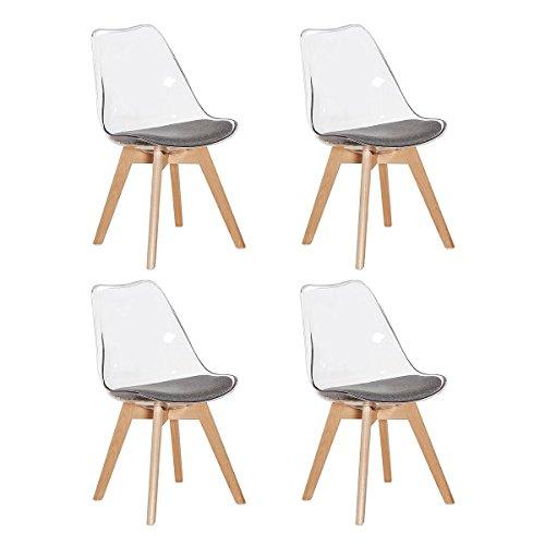 H.j wedoo set di 4 sedie trasparenti in policarbonato, sedie cucina moderne scandinavo design sedia da pranzo con gambe di legno e morbido cuscino di stoffa - grigio