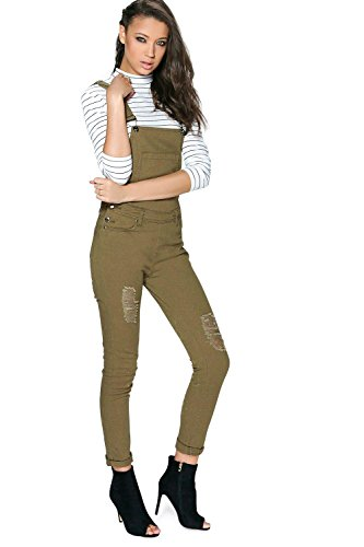 Khaki Khaki Womens Tall Rochelle Long Dungaree - 6 Khaki