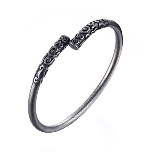 HIJONES Herren Edelstahl Alten Buddhistischen Offenen Manschette Armreif Armband Männlich Silber