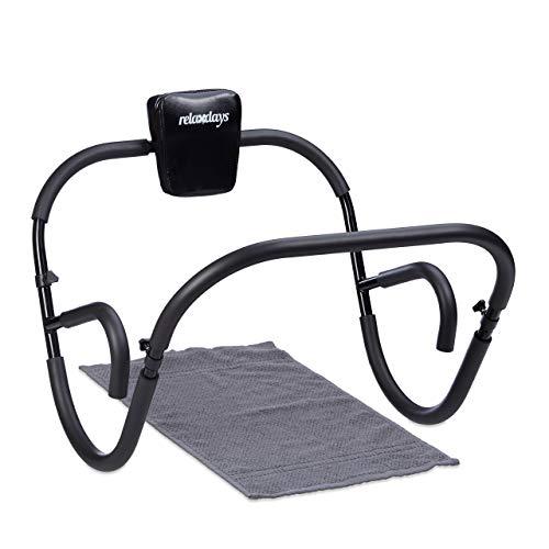 Relaxdays Bauchtrainer AB Roller, Bauchmuskeltrainer, faltbar, HxBxT: 66 x 70 x 70 cm, Sixpack Fitness Trainer, schwarz