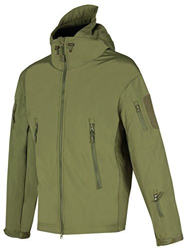 ACE Taktische Softshell-Jacke | Bequeme Outdoor-Kapuzenjacke für Herren | Tactical Military Jacket im Army-Style | Green OD | Größe S