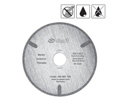 S&R Diamanttrennscheibe Corona 125x22,2 mm Standard Marmor galvanisch, Trockenschnitt