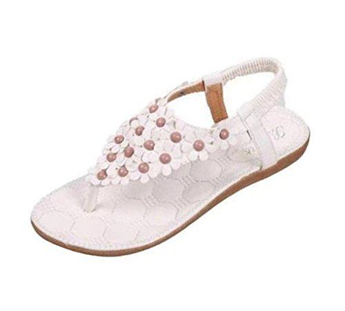VJGOAL Damen Sandalen, Frauen Mädchen böhmischen Mode Flache beiläufige Sandalen Strand Sommer Flache Schuhe Frau Geschenk (39 EU, R-weiß)