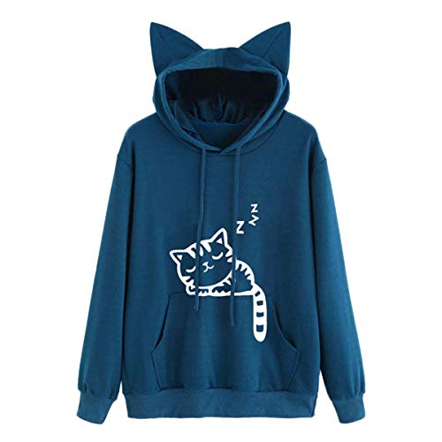 TRFLH& Hoody Women Cat Long Sleeve Hoodie Sweatshirt Hooded Pullover Tops Blouse Autumn Clothes for Women #D7 Blue S -