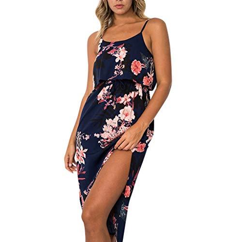 CUTUDE Damen Kleider Röcke Kurzarm Sommerkleider Freizeit Ärmellos Drucken Langes Retro Lautsprecher Kleid Strandkleid (Marine, Large)