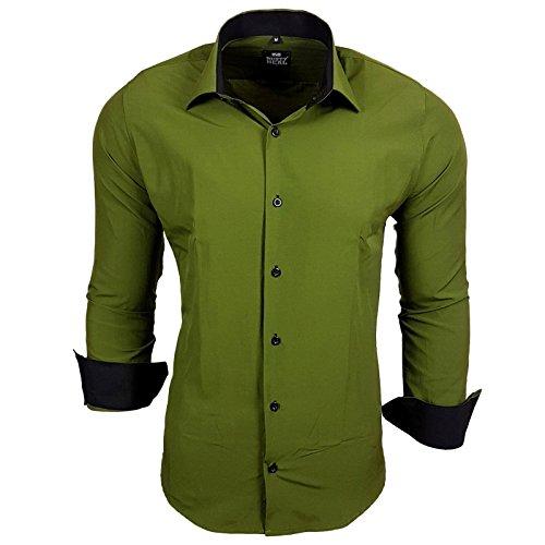 Rusty Neal Herren Kontrast Hemd Business Hochzeit Freizeit Slim Fit S bis 6XL A44 Khaki