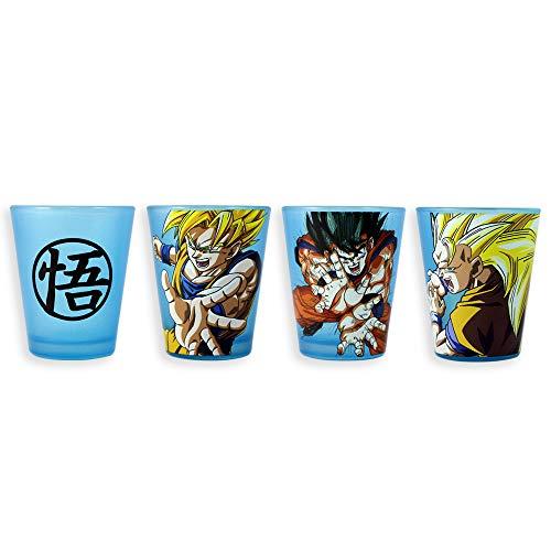 Offizielles Lizenzprodukt Dragon Ball Z Goku Schnapsgläser-Set mit neonblauem Schwarzlicht Reaktiv-Abziehglas, 4er-Set, ca. 450 ml Shot Glass Jigger