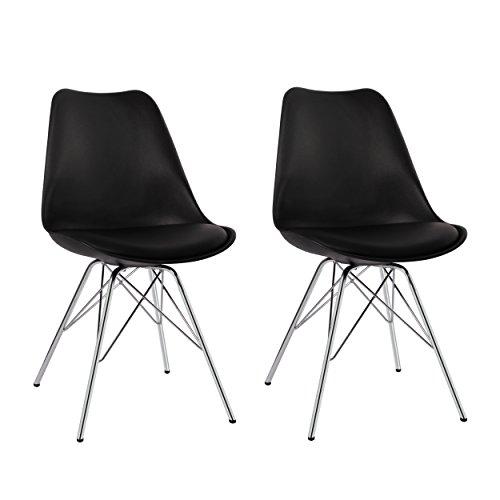 Duhome Esszimmerstuhl 2er Set Küchenstuhl Schwarz Kunststoff mit Sitzkissen Stuhl Vintage Design Retro Farbauswahl 518J