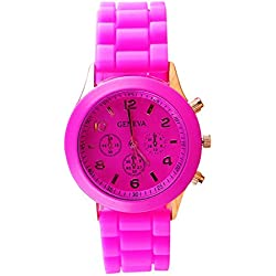 TOOGOO(R) Unisex Silicone Jelly Gel Quartz Analog Sports Wrist Watch Rose Red