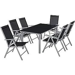 TecTake Aluminio Conjunto Muebles para Jardin 6+1 Silla Adjustable Mesa Cristal terraza (Gris Plateado | No. 402167)