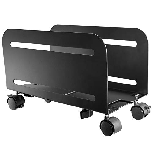 RICOO PC Ständer Rollbar RH-04 Computer-Halterung Mobil Rechner-Halter Roller Gehäusehalter Roll-Wagen CPU Rollbrett Mount für Büro & Gaming | Schwarz